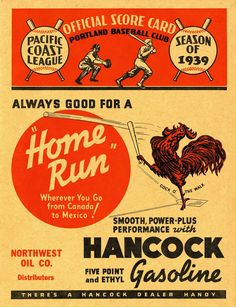 """Cock o' the Walk"", Official Score Card for Portland Baseball Club, Pacific Coast League, Season of 1939"