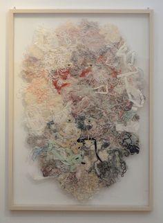 Expectation -couple- embroidery on silk 2011 size1030mmx728mm.  Azumi Sakata.
