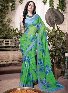 Radiant Green #Georgette #Saree