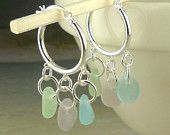 Genuine Sea Glass Earrings Sterling Silver Hoops With Rare Pastels