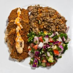 Baked Falafel with Tabbouleh & Lentils (Lentils can be made vegan by swapping chicken broth for veg)