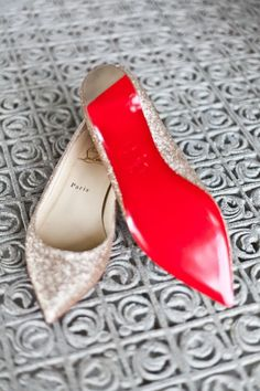 Christian Louboutin gold pointed flats