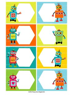 Do it yourself - Robot Printable Buffet Labels or Notecards.  Eight cards per sheet (approx 2.5 x 3.5 each)  High quality PDF and JPG Files.