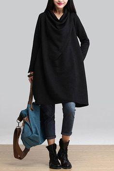 Black Art Warm Casual Loose Dress Women Tops Q2884A