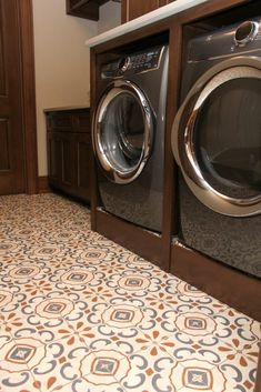 White blue and orange patterned laundry room tile floor Orange Laundry Rooms, Laundry Room Colors, Laundry Room Tile, Hardwood Floors, Flooring, New Carpet, Backsplash, Tile Floor, New Homes