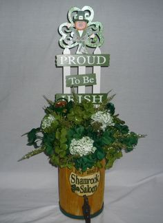 Proud To Be Irish - St Patricks Day Centerpiece, Table Decor. Bar Decpr - Item 231.  via Etsy.