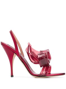 Shop red Marco De Vincenzo large bow sandals with Express Delivery - Farfetch Leather High Heels, Gold Leather, Leather Slip Ons, Black Patent Leather, Leather Boots, Bow Sandals, Bare Foot Sandals, Red Accessories, Rhinestone Heels