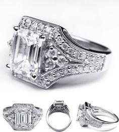 Vintage Trio Emerald cut diamond engagement ring