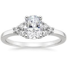 oval engagement with 3 small diamonds on each side - Google Search