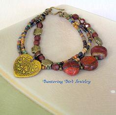 Multi Strand Boho Bracelet Jasper Scarab Beads Enamel Heart Charm Brass Earthy Southwestern