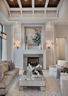 53 Incredible Winter Living Room Design Ideas For Holiday Spirit Winter Living Room, Living Room With Fireplace, New Living Room, Living Room Decor, Small Living, Cozy Living, Coastal Living, Fireplace Built Ins, Fireplace Design