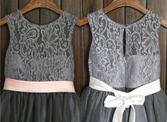 Grey Lace Tulle Flower Girl Dress with by thstylee1 on Etsy, $47.99