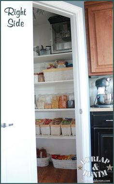 pantry with matching containers, electrical outlets, and supurb organization!  Must copy