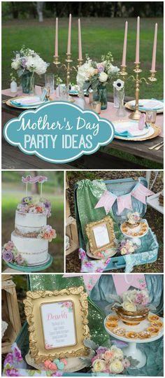 Love this gorgeous outdoor Mother's Day brunch! Beautiful colors! See more party ideas at CatchMyParty.com!