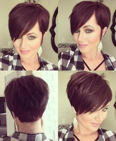 Layered Short Haircuts for Women with Fine Hair Short Hairstyles 2018 - Frisuren feines haar - Cheveux Short Pixie Haircuts, Pixie Hairstyles, Layered Hairstyles, Hairstyles 2018, Red Pixie Haircut, Pixie Haircut Styles, Brown Pixie Hair, Poxie Haircut, Short Hair Long Bangs