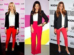 Looks inspiração: Blazer preto + calça vermelha