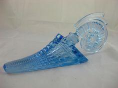 Rare Vintage Czech ART Deco Blue Glass Shell Perfume Bottle Nautilus Stopper M | eBay