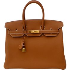 Pre-Owned Hermes Gold Birkin Bag 35cm Togo Gold Hardware 2016... ($21,500) ❤ liked on Polyvore featuring bags, handbags, gold, brown handbags, kiss-lock handbags, brown bag, colorful purses and multicolor handbags