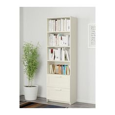 BRIMNES Bookcase IKEA Adjustable shelves, so you can customize your storage as needed. Smooth-running drawers with drawer stops to keep them in place.