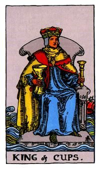 Cups Minor Arcana of the Raider-White tarot II - Spiritual Reading  The terrain featured in the King of Cups symbolizes that even as the King is at peace, the world rages on around him.  http://www.spiritual-reading.net/cups-minor-arcana-of-the-raider-white-tarot-ii/  #tarot