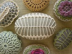 RESERVED  Crocheted Lace Stone, Beige, Fern Pattern, Gray Beach Stone, Handmade. $49.00, via Etsy.