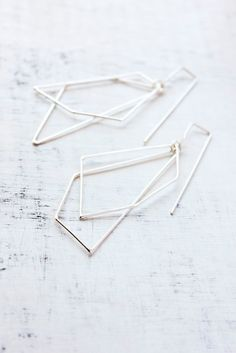 Belinda Saville - Geometric earrings, dangle earrings, sterling silver, modern, minimal jewelry, gifts under 75 - The Geometry of the Heart Earrings