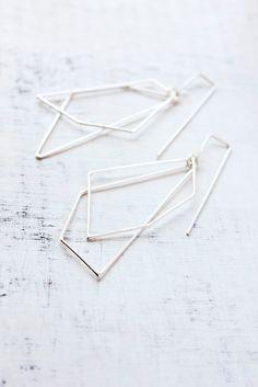 Belinda Saville - Geometric earrings, dangle earrings, sterling silver, modern, minimal jewelry, gifts under 75  - The Geometry of the Heart Earrings