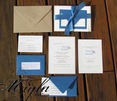 Blue & Paper Bag Wedding Invitation  www.maylastudios.com