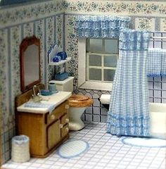Quarter scale bathroom this is beautiful. Miniature Rooms, Miniature Houses, Miniature Furniture, Dollhouse Furniture, Barbie Bathroom, Dollhouse Accessories, Mini Things, Barbie Furniture, Small World