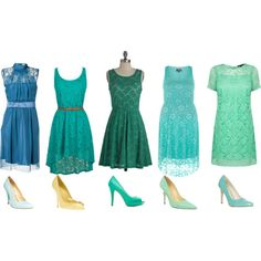 """""""Bridesmaids"""" by rosielou on Polyvore, mismatched blue/green lace bridesmaids dresses"""
