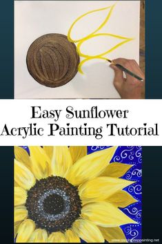How To Paint A Sunflower. How To Paint A Sunflower - Step By Step Painting - Tutorial. Learn how to paint a sunflower with acrylics on canvas. Beginners guide to painting a large yellow sunflower on canvas. Instructions and video included. Sunflower Canvas Paintings, Easy Canvas Painting, Acrylic Painting Techniques, Painting Lessons, Diy Painting, Art Lessons, Painting & Drawing, Acrylic Canvas, Canvas Canvas