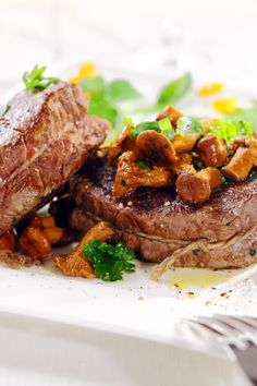 Roast Beef Tenderloin with Mushroom Ragout Recipe with shallots, thyme, and Madeira Lamb Recipes, Meat Recipes, Cooking Recipes, Dinner Recipes, Beef Tenderloin, Roast Beef, Pot Roast, Beef Dishes, Food Dishes