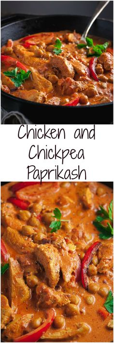 Chicken and Chick Pea Paprikash by vikalinka:  #Chicken_Paprikash #Chickpea #Healthy