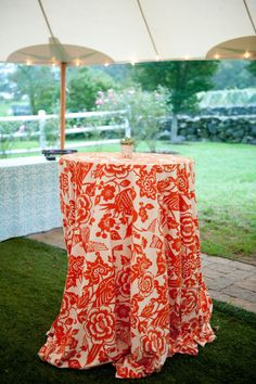 Patterned table cloths for high cocktail tables | Wedding cocktail hour styling