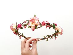 Flower crown pink peach coral berries/ woodland by AbbeysBlooms