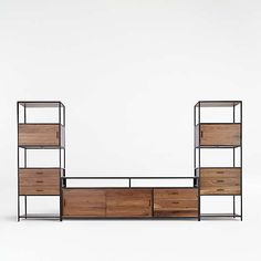 Entertainment Centers & Media Consoles | Crate and Barrel Open Bookcase, Bookcase Storage, Media Storage, Storage Drawers, Bookcases, Wine Tower, Flex Room, Wood Drawers, Wine Storage