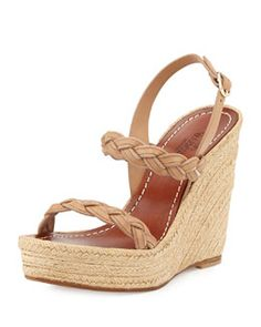 S08VZ Valentino Braided Leather Double-Strap Espadrille, Taupe