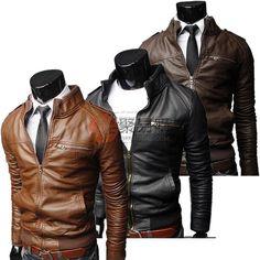 韩版拉链设计立领修身男士皮衣-棕色-$12.99