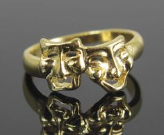 Comedy & Tragedy Ring Size 5 Gold