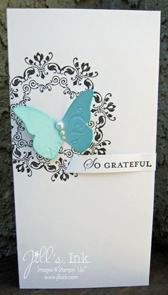 lovely handmade card ... shimmery white paper with a dimensional butterfly ... Daydreams Medallions  ... Stampin' Up!