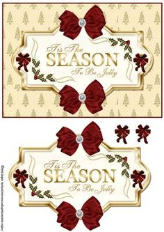 Tis The Season Gold With Bows on Craftsuprint - View Now!