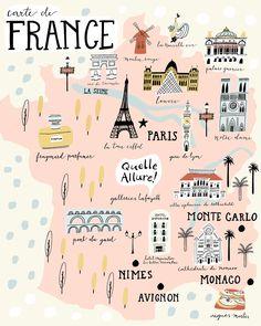 Paris illustrated map france art print city map by livigosling. Travel Maps, Paris Travel, Travel Posters, Places To Travel, Paris Map, Map France, Nice France, Louvre Paris, Voyage Europe