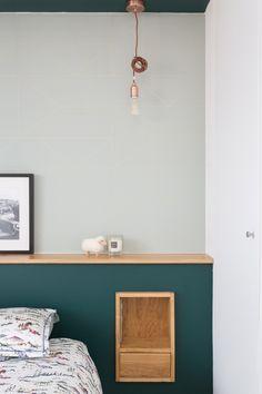 Mon Concept Habitation - Rénovation d'architecte sur Paris et région Parisienne - www.monconcepthabitation.com #menuiserie #surmesure #rangement #niche #optimisation #espace #carré #cube #bois #personnalisation #peinture #farrowandball #design #epure #scandinave