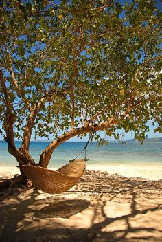 Hammock on Calumbuyan Beach, Palawan, Philippines | See More Pictures | #SeeMorePictures