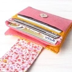 Coin Purse Cash Wallet. Womens Small Credit Card Travel Wallet. Fabric Card Organizer. Pink Orange Ladies Billfold. Repurpose Vegan Recycle
