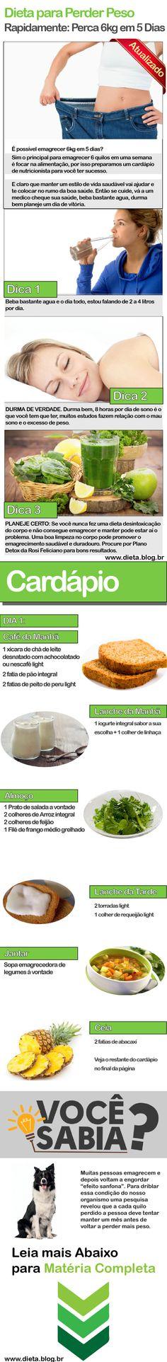 Dieta para Perder Peso Rapidamente Perca 6kg em 5 Dias