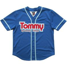 Vintage Tommy Hilfiger Baseball Shirt Size Large Grubby Mits (3.985 RUB) ❤ liked on Polyvore featuring tops, embroidered top, blue embroidered top, vintage tops, baseball shirts and vintage baseball shirts