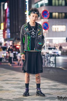 "Harajuku Punk in Studded Leather Jacket, ""Too Fast To Live Too Young To Die"", Dr. Martens & Pokemon Tattoo"