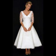 Cutting Edge Bridalwear Lacey Tea Length Vintage Style Wedding Dress With Sleeves