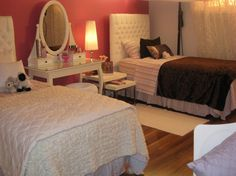 Perfect Tween Girls Bedroom Ideas for Your Kids: Gorgeous Twin Beds Teen Girls Bedroom Ideas Oval Mirror Dress Table Ideas ~ mybutteryfly.com Bedroom Inspiration